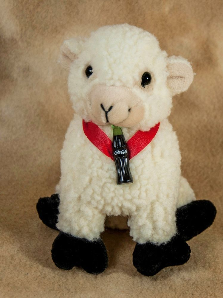 plush COCA COLA LAMB sheep sherpa BEANBAG  beanie with little bottle  #CocaCola
