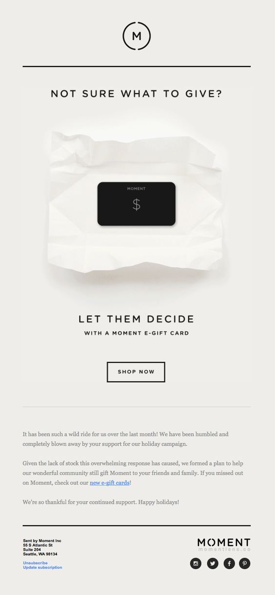 Gift Card Promotion From Moment Great Example Of Copywriting And Web Design Webdesig Email Design Inspiration Email Marketing Design Email Newsletter Design