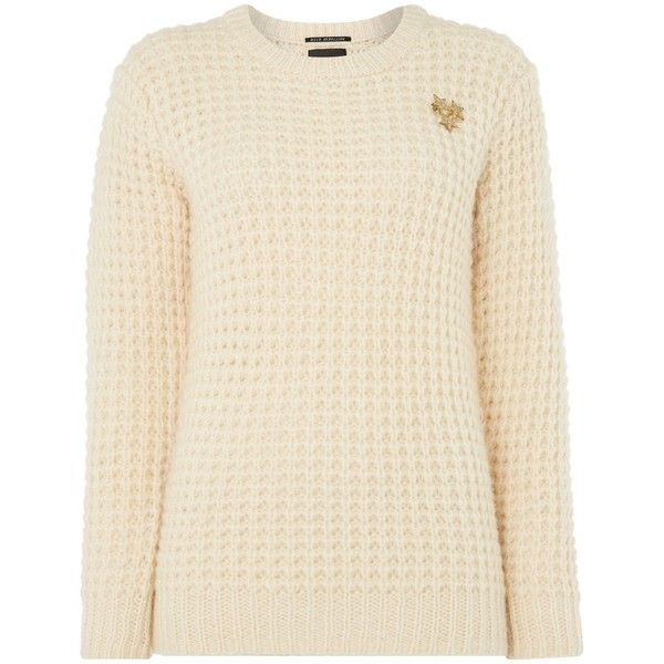 Maison Scotch Waffle stitch chunky knitted jumper ($205) ❤ liked ...