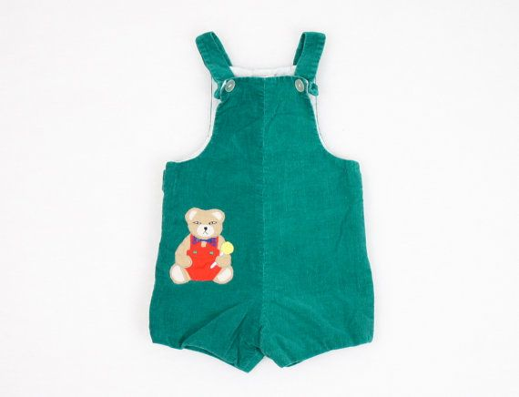 Vintage Toddler Jumper Romper Playsuit Onesie Jon Jons Forest Green Dark Green Red Teddy Bear Christmas Holiday Outfit Overalls 24m 2T 3T