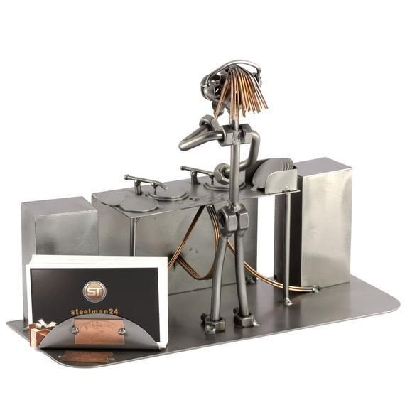 This business card holder will be fixed with a strong magnet and could be placed on any position you want.Item number: 0414VDimensions in cm [HxWxL]: 19x10x25Weight in kg: 1,1Our Metal figurines and objects are manufactured in original Steelman quality, elaborately and carefully handcrafted. Due to this workmanship, each individual product is unique and fulfils the highest quality standards. These small pieces of art which consist of screws, nuts, Metal and copper are produced with a high level