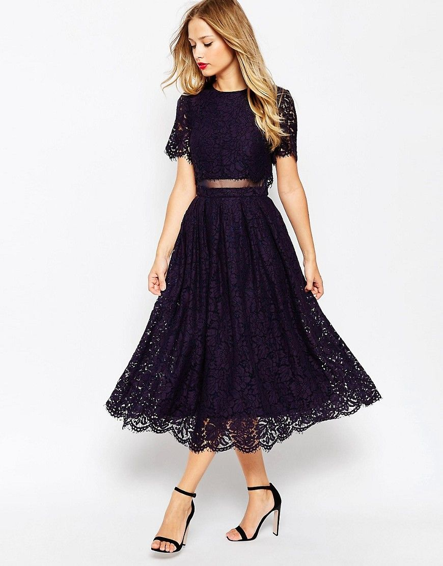 Asos lace crop top midi prom dress navy by asos asos us