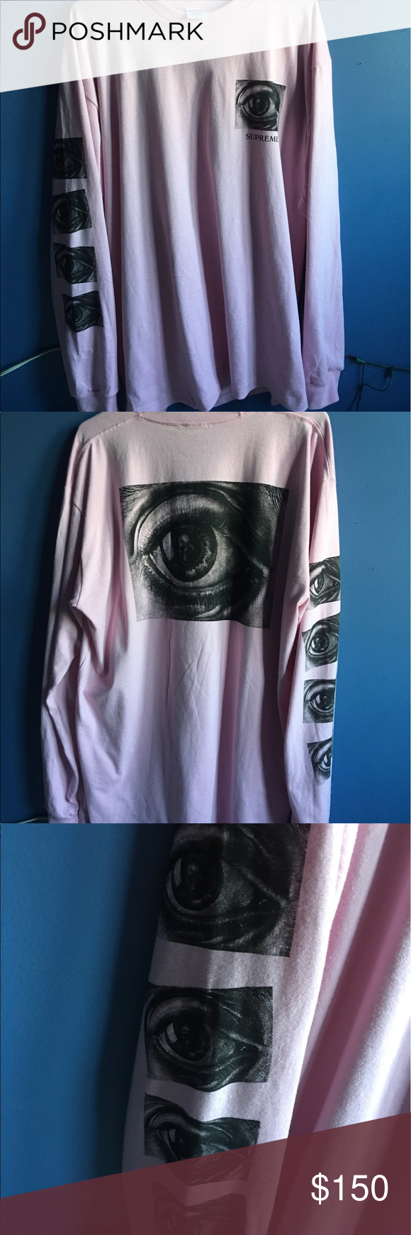 e3c6194b25c3 NWOT Supreme MC Escher Pink Eye Long Sleeve Shirt Authentic Supreme MC  Escher Pink Eye Long Sleeve Tee Shirt Size XL Released in April 2017 10/10  NEW ...