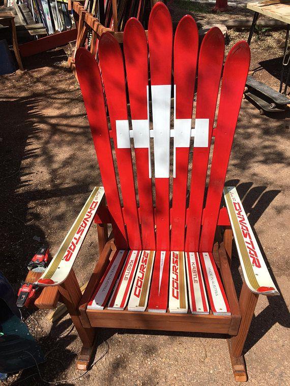 Prime Set Of 2 Adirondack Rocking Chairs Ski Patrol Painted Short Links Chair Design For Home Short Linksinfo