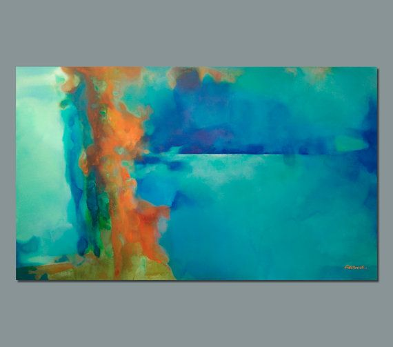 abstract painting turquoise blue green orange large ForPintura Azul Turquesa