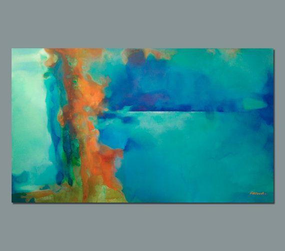 Abstract painting turquoise blue green orange large - Pintura azul turquesa ...