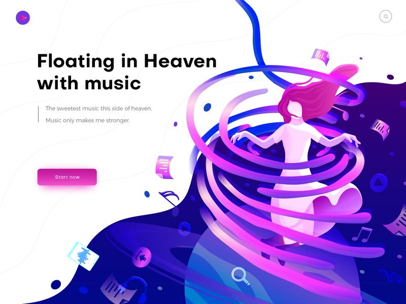 Hero Image Illustration For Music Web Design Trends Website Illustration Web Design