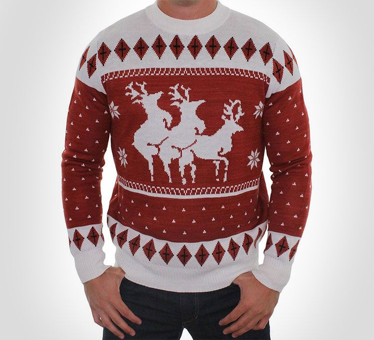 Humping Reindeer Threesome Ugly Christmas Sweater | Mens