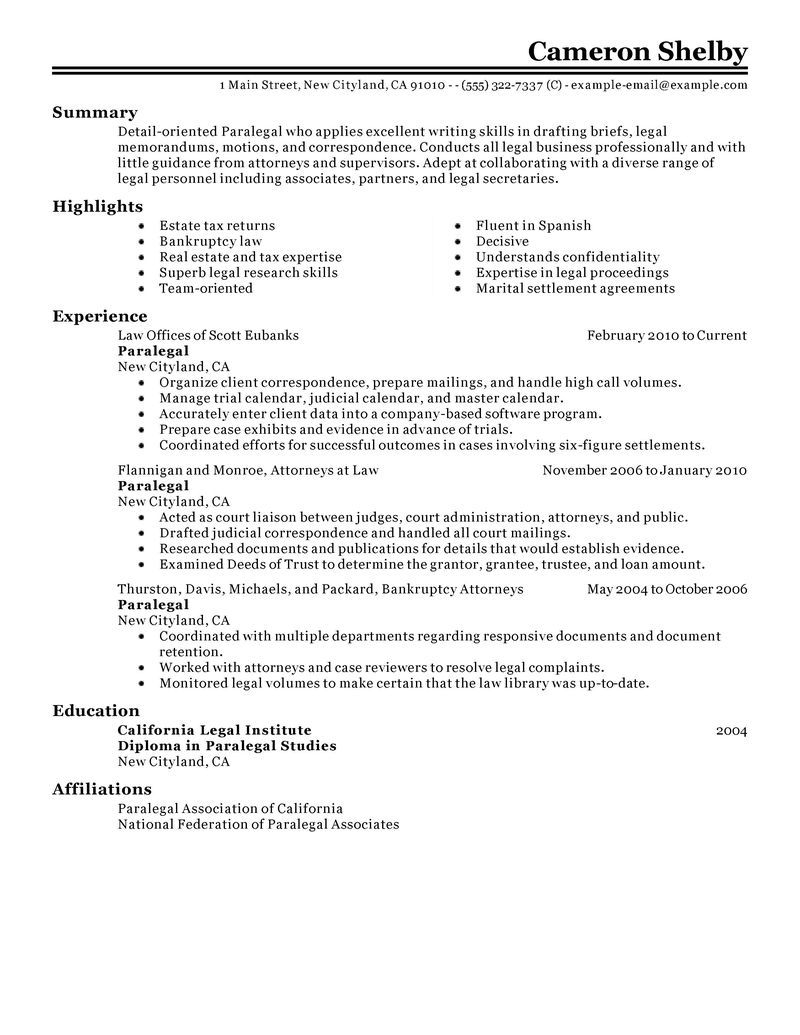 Best Paralegal Resume Example Job Resume Examples Resume