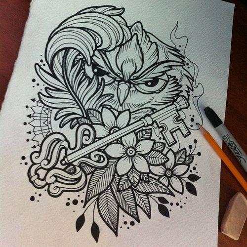 Sketch owl!!! ta2 tinta tattoo tatuaje ink pen piel