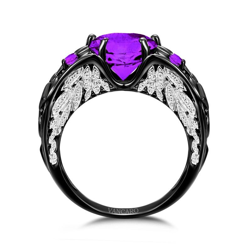 Amethys Heart Ring Black And Purple Unique Engagement Ring For