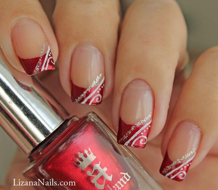 Christmas Nails - Nail Art Red French façon gel   Christmas Nails ...