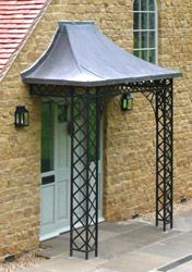 Lead porch canopy forms the roof of our Regency Light style of ironwork mounted on stone & Lead porch canopy forms the roof of our Regency Light style of ...