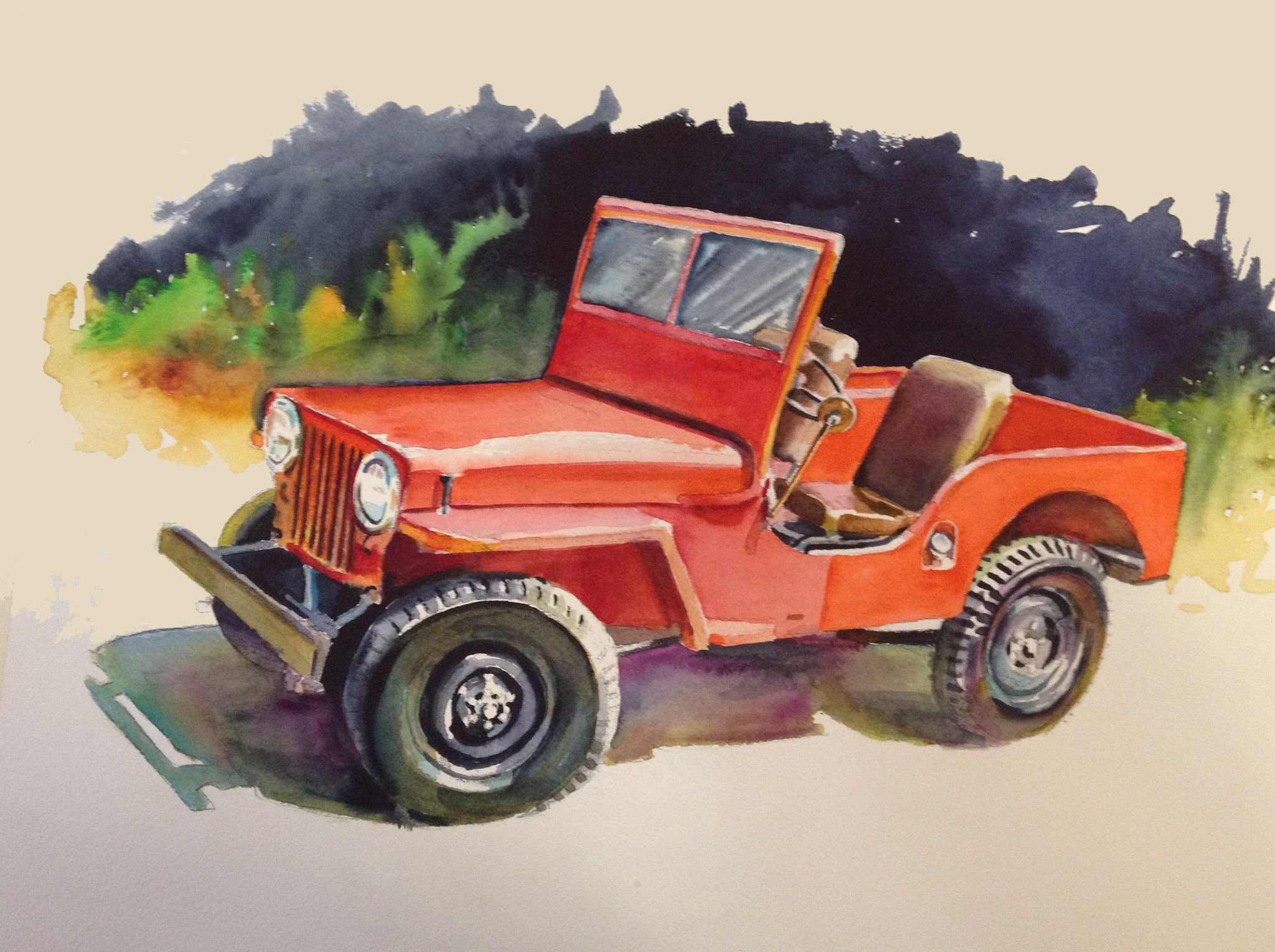 47 Jeep From My Recent Series Of Watercolor Sketches Of Old Cars