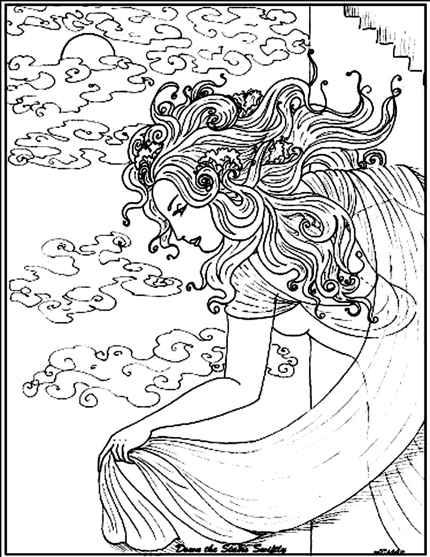 Free coloring page coloring-adult-woman-sea. A mysterious woman ...