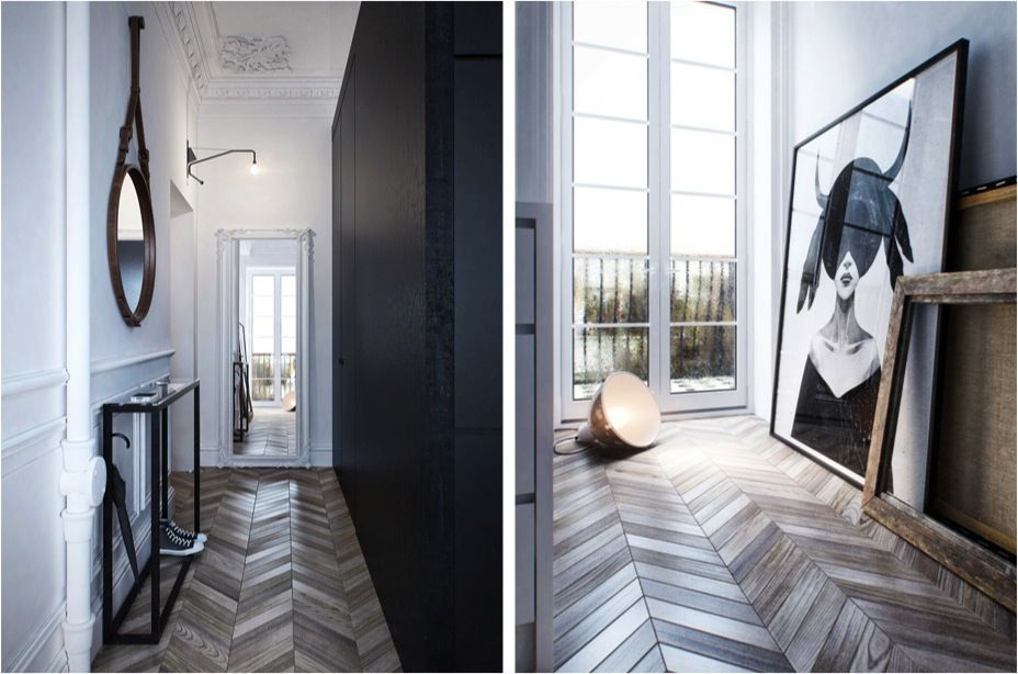 A Sleek And Stylish Entrance Hall, From The Chevron Flooring To The Modern  Black U0026