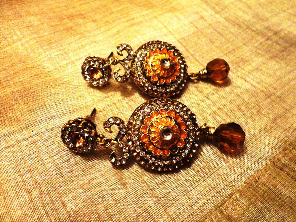 Majestic yellow stone Gold Tone ethnic earrings