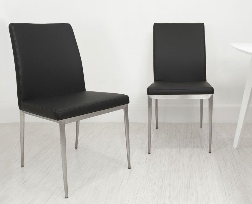 Modern Dining Chair | Brushed Metal Legs | UK Delivery