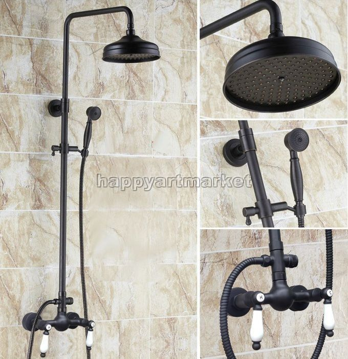 Black Oil Rubbed Brass Bathroom Shower Faucet Set Dual Handle Mixer ...