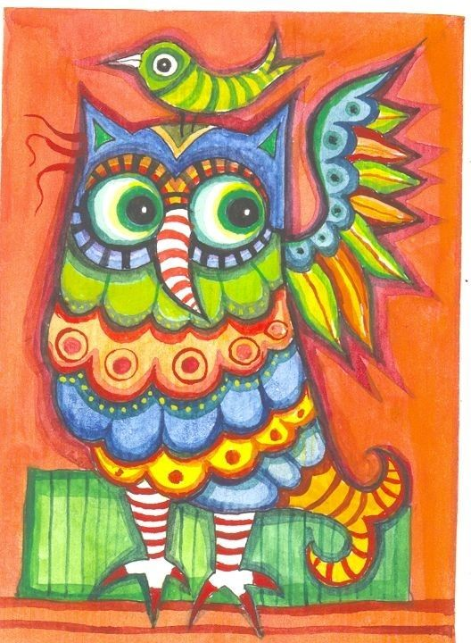 Owl - original watercolor ACEO. $19.00, via Etsy.