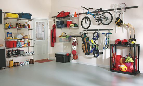 Garage Strategies™ - Shelves and Hooks Rubbermaid FastTrack | Garage on rubbermaid fast track accessories, rubbermaid fast track 2 bicycles, rubbermaid fast track bike rack, lowe's rubbermaid fast track, rubbermaid fast track organizer, rubbermaid fast track system, garage wall track,