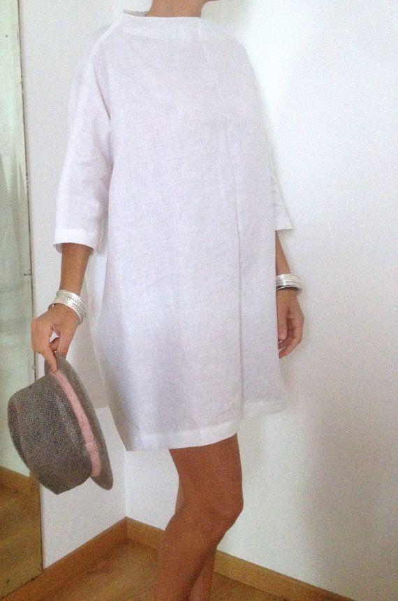 best cheap 0400b d12e0 Vestiti in Lino Tunica Lino Bianco Casacca XXL Maxi ...