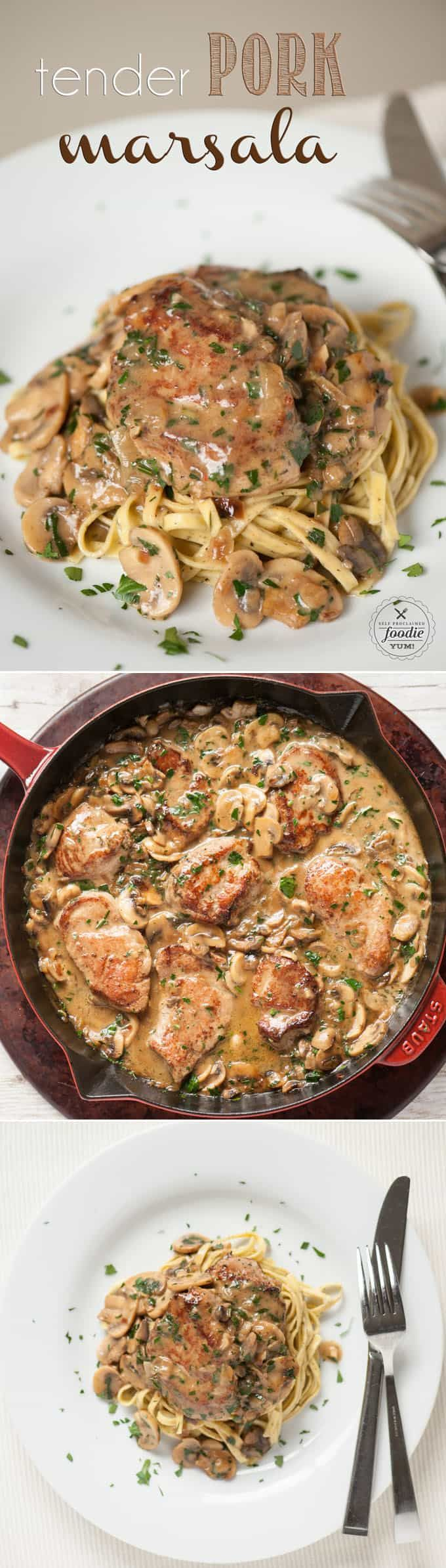 Ready in just 30 minutes Tender Pork Marsala made with marinated pork tenderloin smothered in a mushroom wine sauce is perfect for any night of the week
