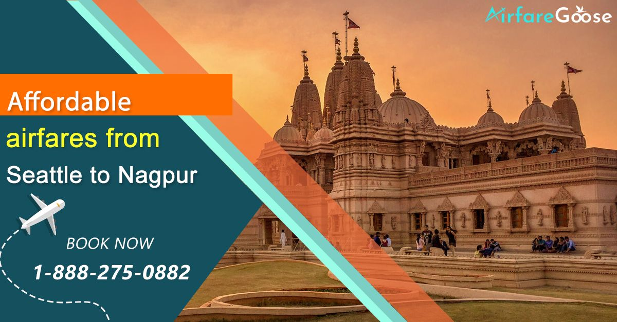 Get best travel deals, lowest airfare on #Seattle to #Nagpur flights. Book now & Save Big!  For more information, call us at -1-888-275-0882 (Toll-Free).  #TravelNagpur #India #VisitNagpur #VisitMaharashtra #TravelDeals #CheapAirfare #CheapAirticket #Travel #Tourism #Cheaptravel #bookflightstoday