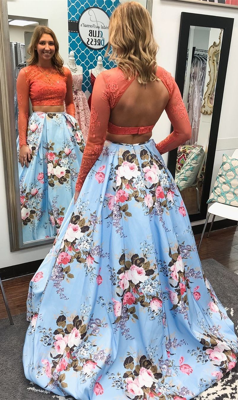 Two Piece Prom Dress Floral Blue Skirt With Long Sleeves Long Prom Dress With Open Back Floral Prom Dresses Diy Prom Dress Prom Dresses Ball Gown