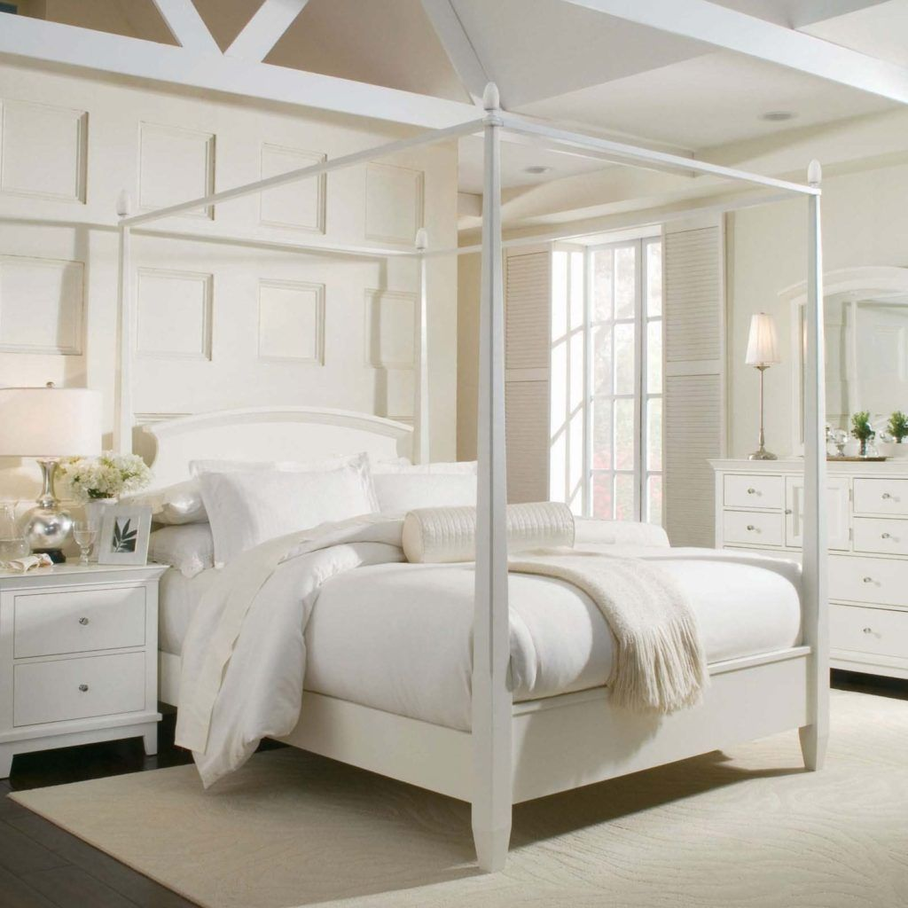 Best White Full Size Canopy Bed Frame White Bedroom Design 400 x 300