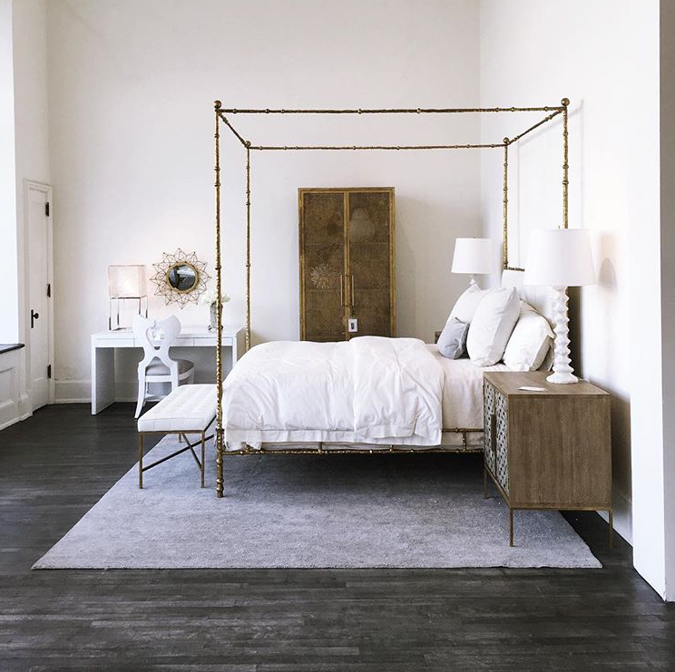 Oly Studio Diego Bed In Antiqued Gold Serena Bedside Table Bat Side Chair Diego Bench Kaleidoscope Mirror Demian Ar Small Room Bedroom Furniture Bedroom