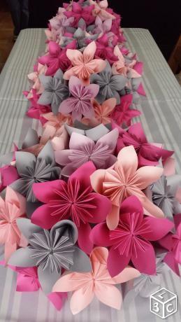 Centre De Table Mariage Fleurs Papier Rose Gris F Pinterest
