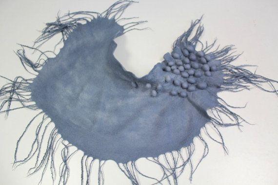 Wool scarf Collar 'Grey night' by doseth on Etsy