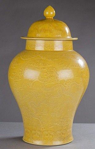 Large Decorative Urns With Lids A Large Chinese Yellow Glazed Porcelain Urnchinese Republic Era