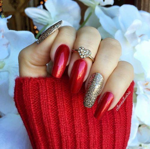 26 Red And Silver Glitter Nail Art Designs Ideas: Znalezione Obrazy Dla Zapytania Nails Red