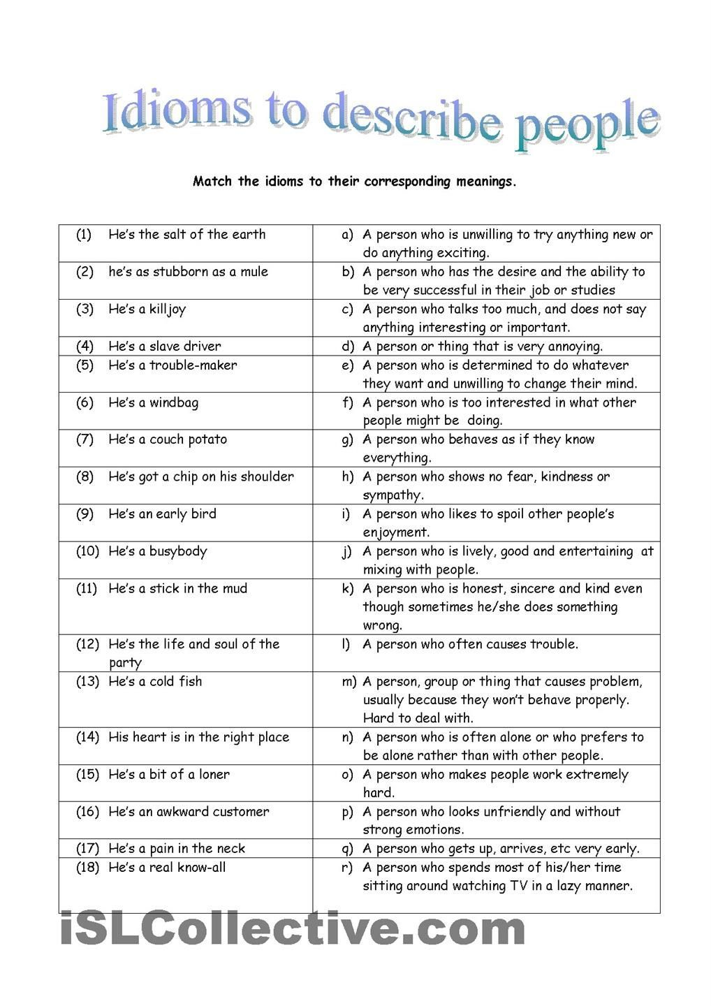 Idioms To Describe People Free Esl Worksheets Esl Words To Describe People English Writing Skills Learn English Vocabulary