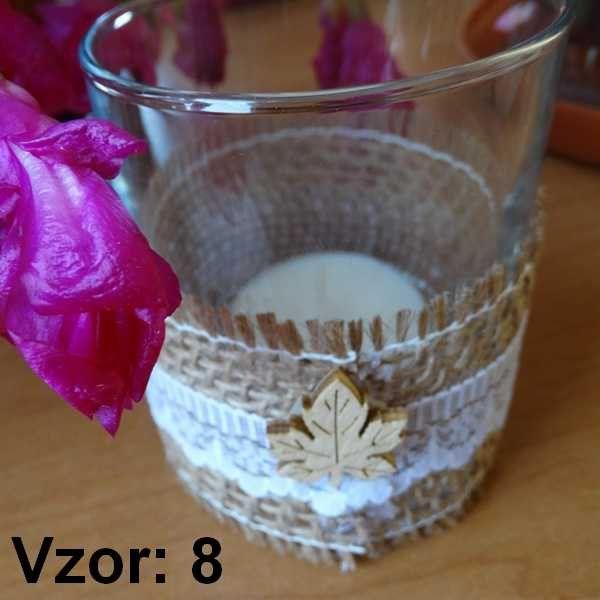 Sklenený svietnik Jarko - Sviečka - S čajovou sviečkou (plus 0,10€), Vzor - Vzor 8