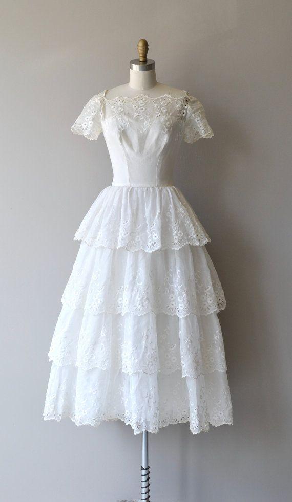 Mignonette wedding gown | vintage 1940s wedding dress | eyelet lace ...