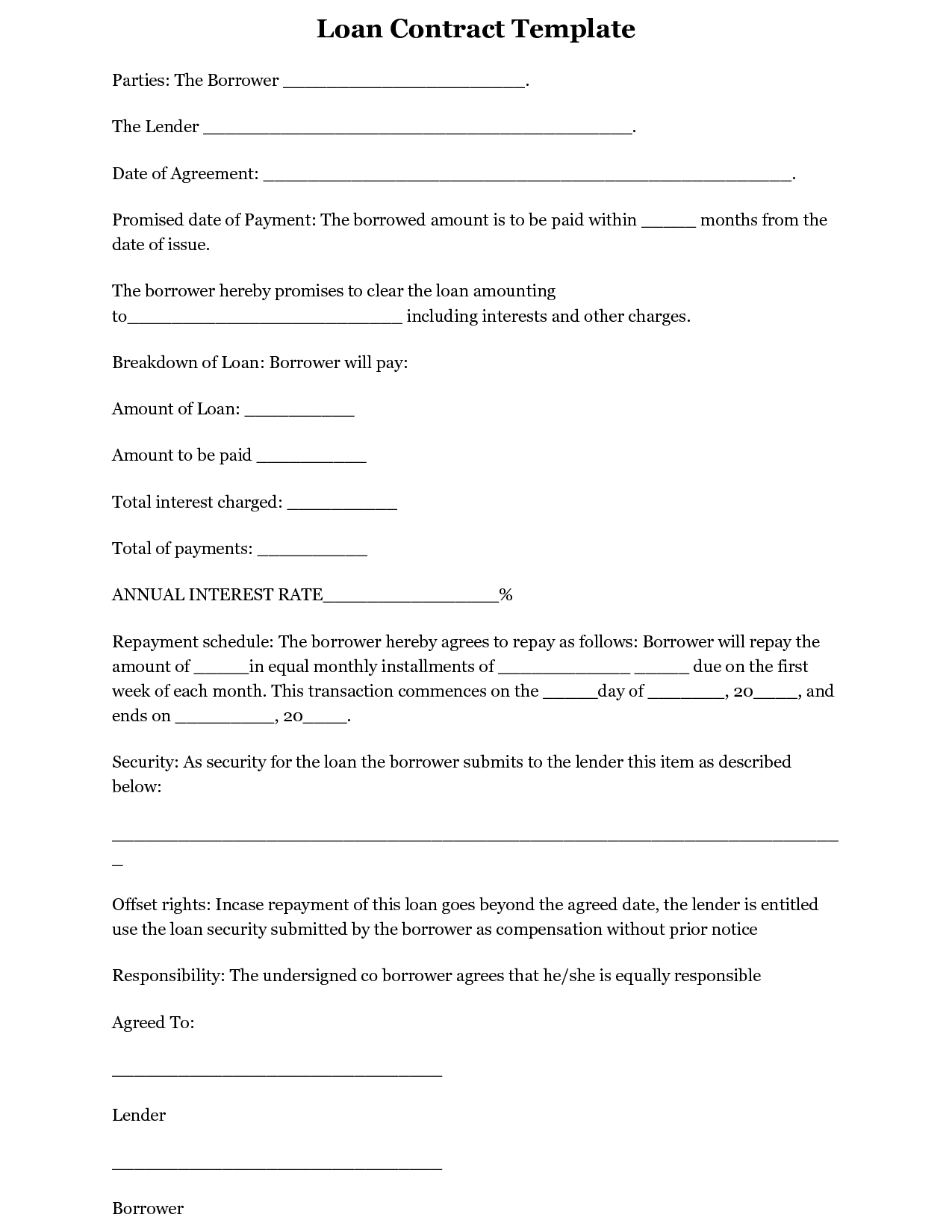 simple interest loan agreement template – Simple Loan Form