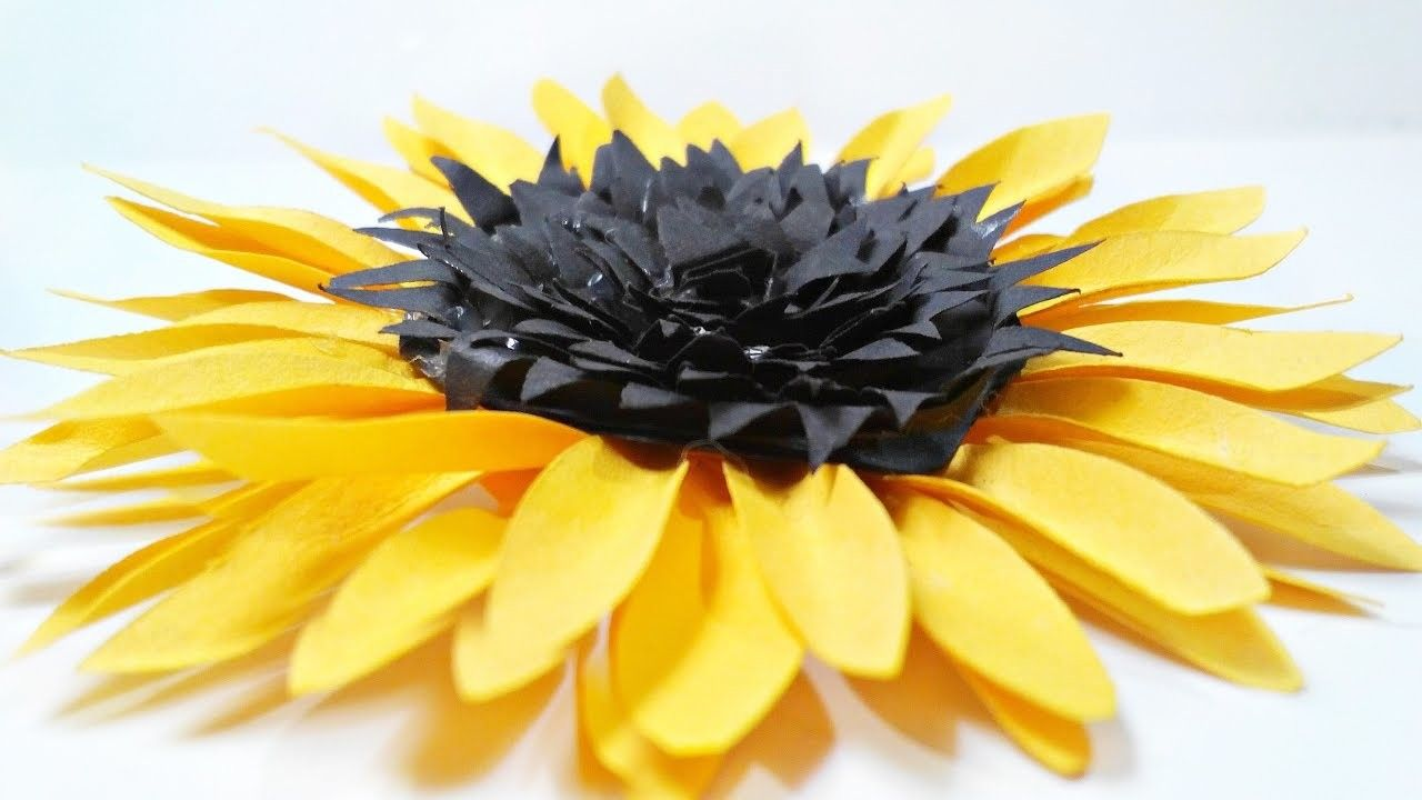 DIY paper Sunflower flower for wall backdrop decoration arts and ...
