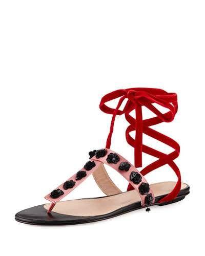 5dfe6b4e86e7e X3JSV Attico Vanessa Studded Ankle-Wrap Flat Sandal