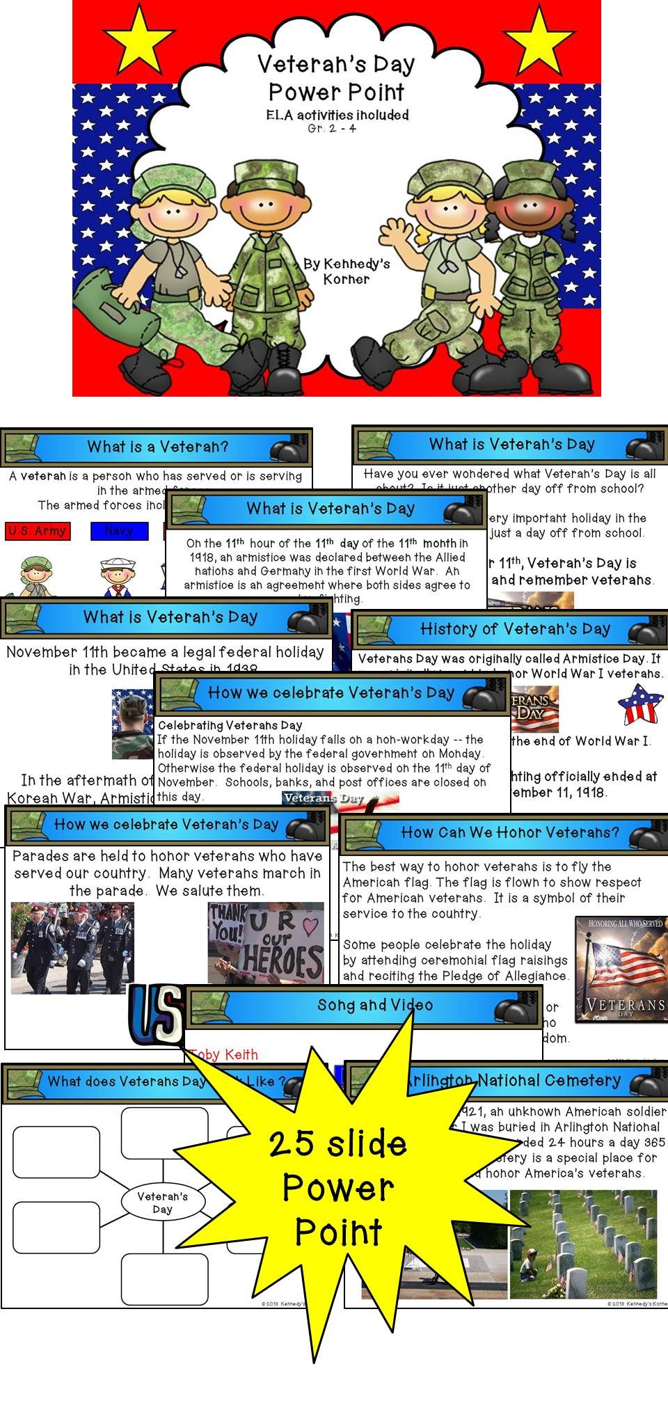 Veterans Day Power Point ~ ELA Activities included ...