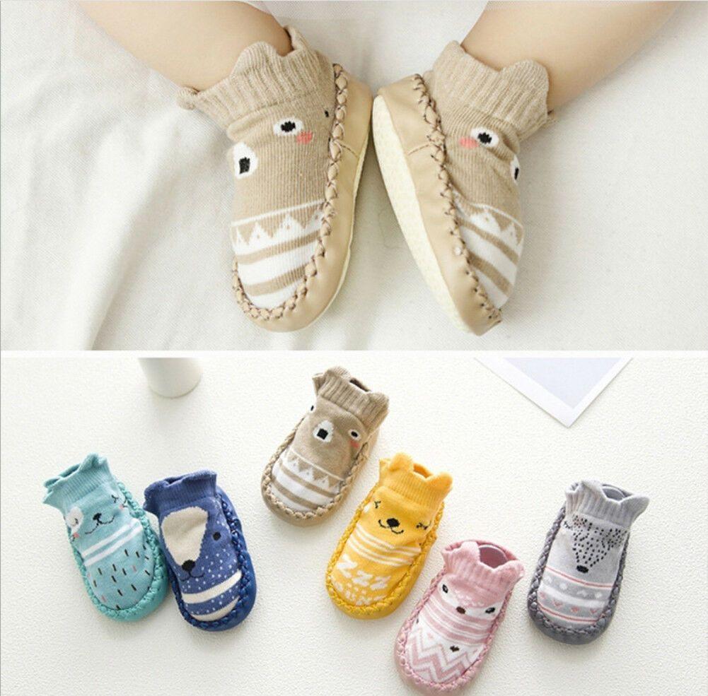 Newborn Toddler Infant Baby Crib Shoes Girls Boys Anti-slip Cotton Socks Boots