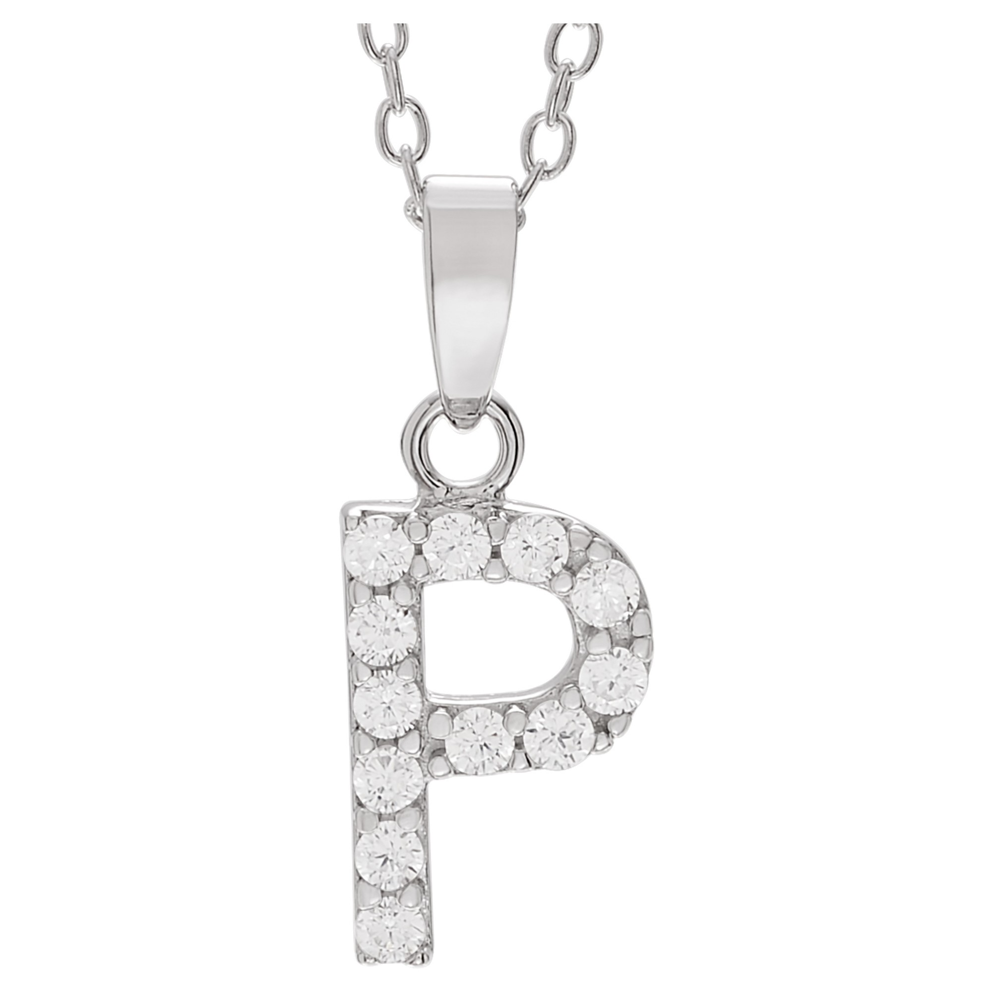 ct tw roundcut cz initial pave set pendant necklace in