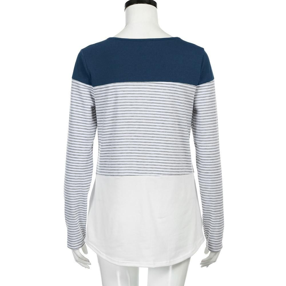 Women's Casual Long Sleeve Striped Stretchy Top Stripes