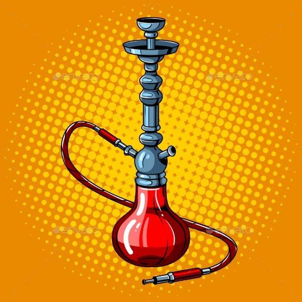 Hookah Pop Art Style Vector Illustration Narguile Desenho Narguile
