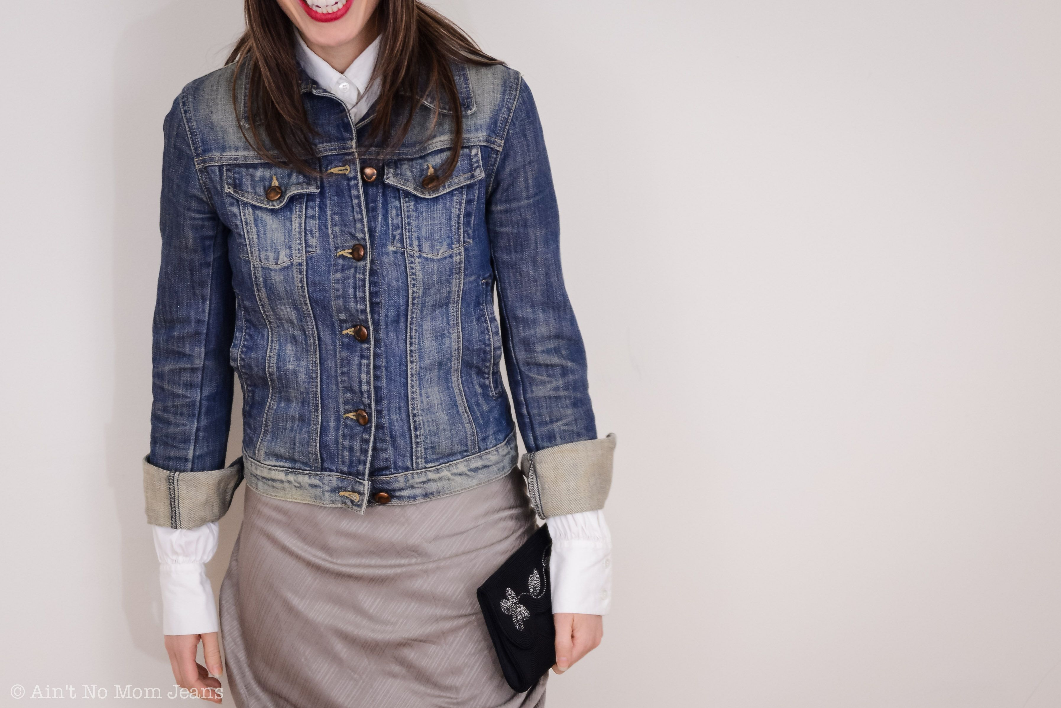 White Shirt Under Denim Jacket From Ain T No Mom Jeans Style