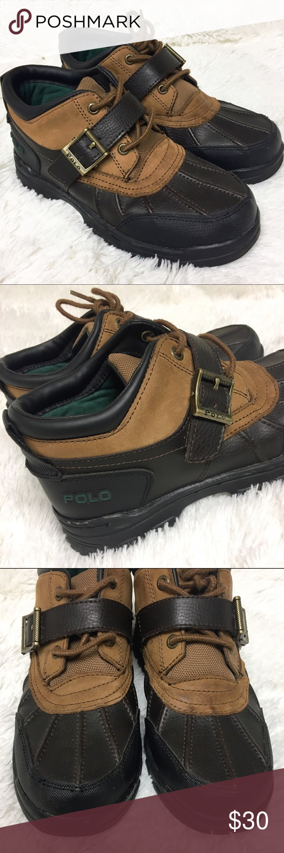 5ddd0302d90 Polo by Ralph Lauren Brown Leather Duck Boots Very good used ...