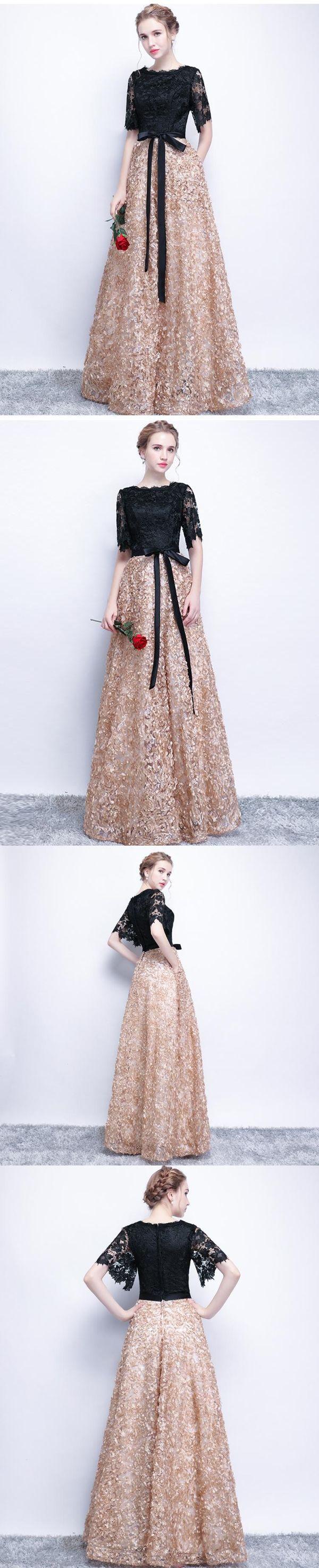 Black prom dresses aline half sleeve long prom dress sexy evening