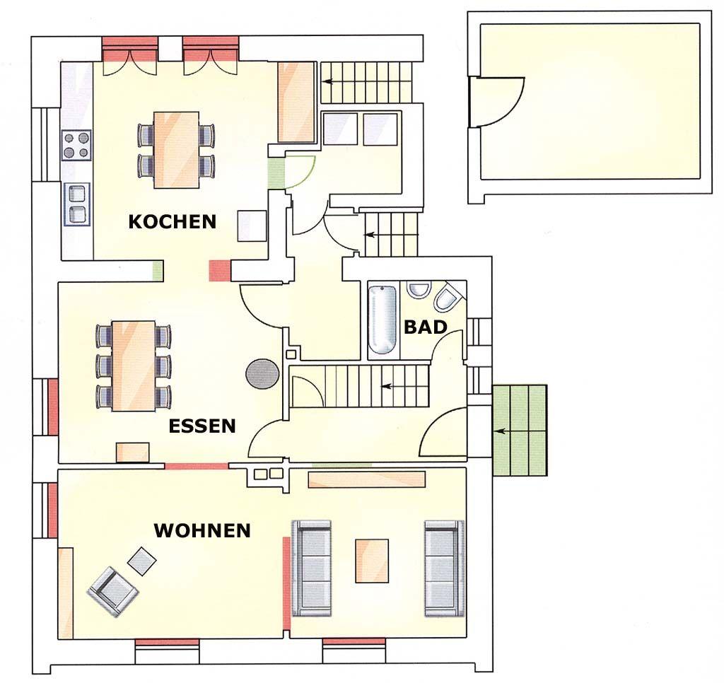 Im Erdgeschoss entstand eine Kaskade von Räumen, die völlig neue Wohnqualität schafft. Rot markiert Abbruch, Grün Neubau.